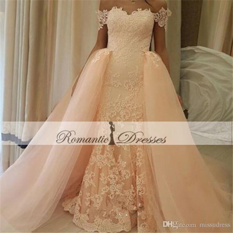 Vestidos Novia Pfirsich Farbe weg von der Schulter Spitze Appliques Brautkleider mit abnehmbaren Zug lange Meerjungfrau Brautkleid