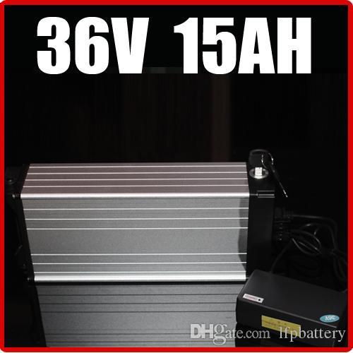 Batería de litio de la bicicleta eléctrica de 36V 15AH, batería de la vespa de la E-bici de la aleación de aluminio del estante posterior 42