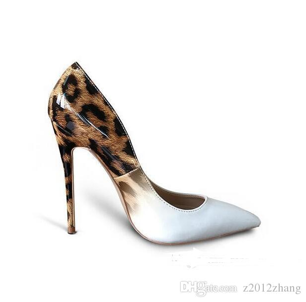 2017 Genuine Patent Leather White Leopard Women wedding shoes ultra thin Red Bottom high heels pumps size 35-42
