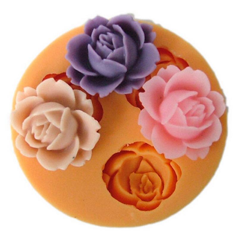 Nicole 3D 꽃 실리콘 미니 금형 수 제 초콜릿 퐁 당 케이크 설탕 공예 굽는 도구를 굽고