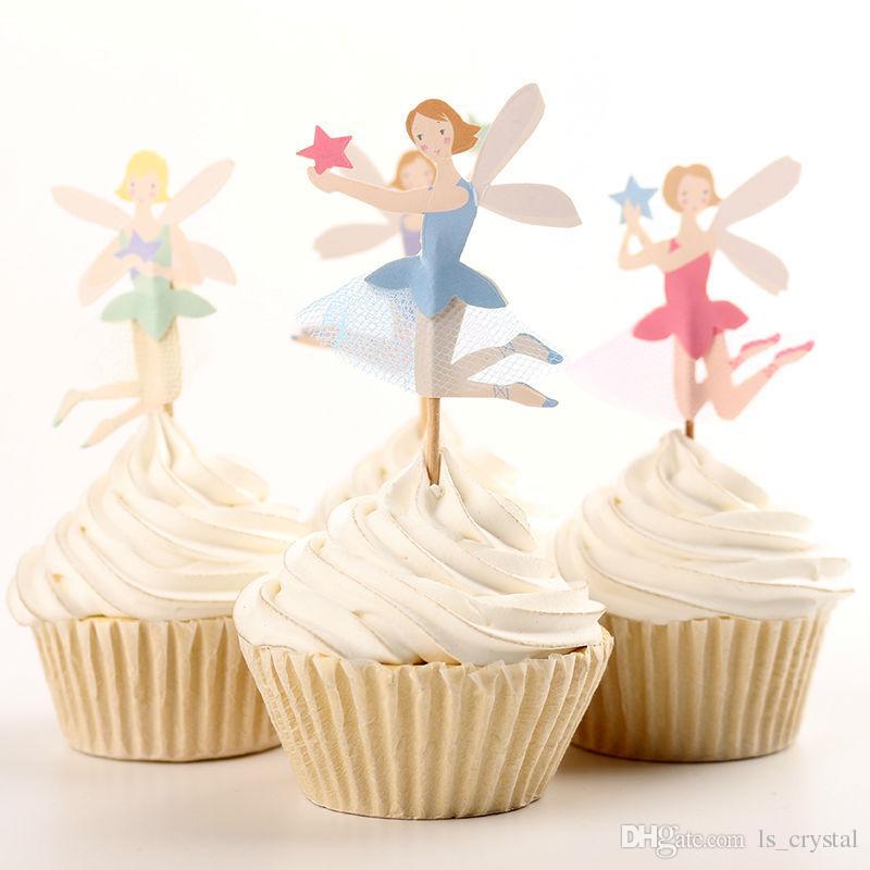 48pcs 귀여운 페어리 페리 디저트 머핀 컵케익 Toppers 피크닉 웨딩 베이비 샤워 생일 파티 서버 DEC072 세트