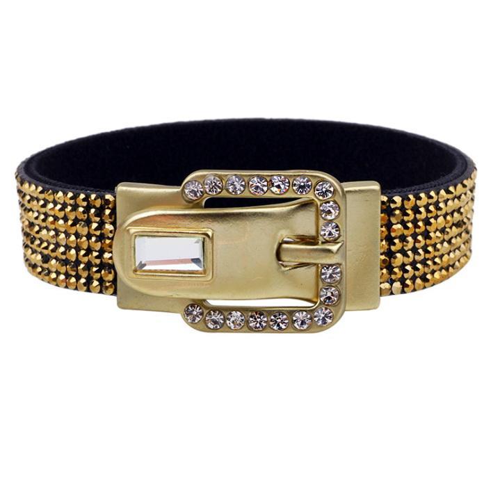 Bracelet à la mode avec boucle en strass, boucle moulée et pierres de verre, disponible en deux couleurs