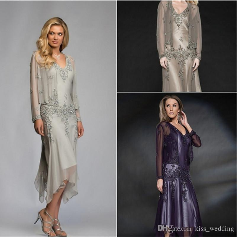 2017 Mother Of the Bride Dresses With Jacket Appliques Chiffon Tea Length Cheap Grey Purple Green Plus Size Mother Evening Party Gowns