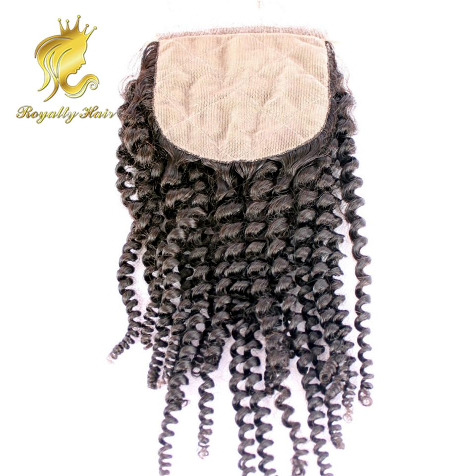 Indian Human hair silk top base closure natural color kinky curly lace closure middle part swiss lace