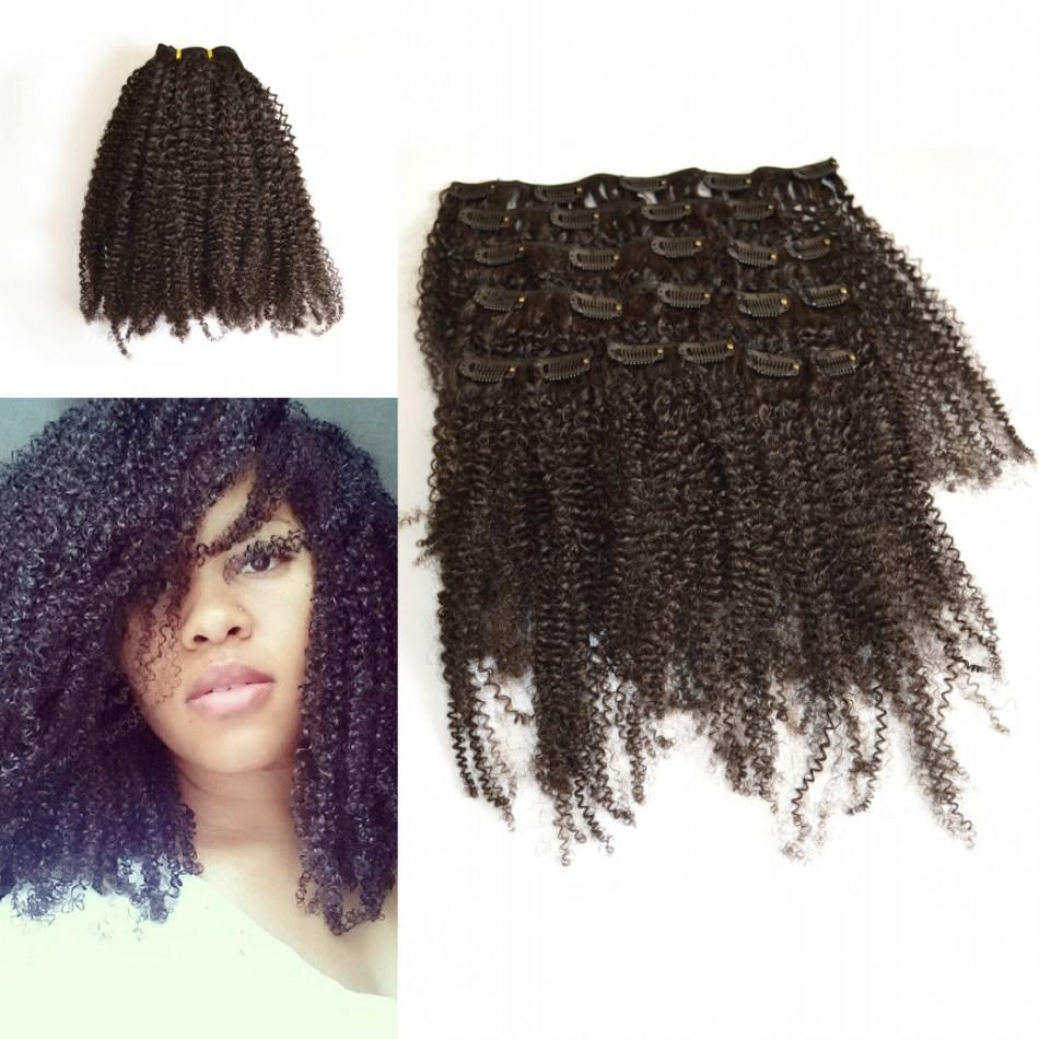 Kinky Curly Clip In Hair Extensions Natural Color African American Clip In Human Hair Extensions 120g 7Pcs/set Clip Ins LaurieJ Hair