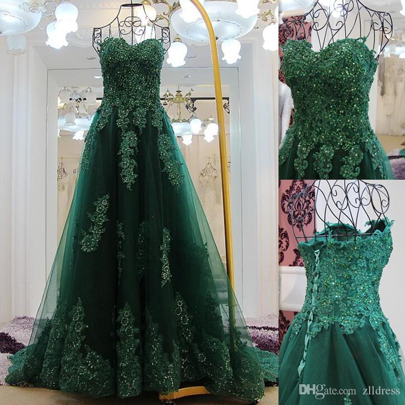 Compre Vestidos De Baile Verde De Jade 2016 Apliques De Encaje De Lentejuelas Vestidos De Noche De Tul Encaje De Espalda Abierta Cariño Elegante