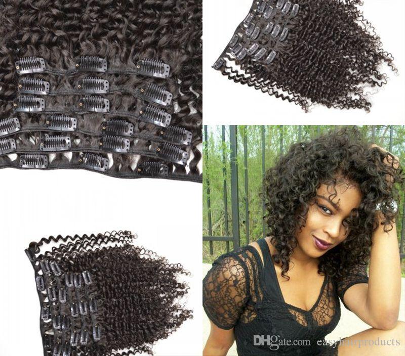 12-26 polegada 7 pcs set 120g grampo de cabelo humano em extensões de cabelo natural preto kinky encaracolado clipe ins completo cabeça G-EASY