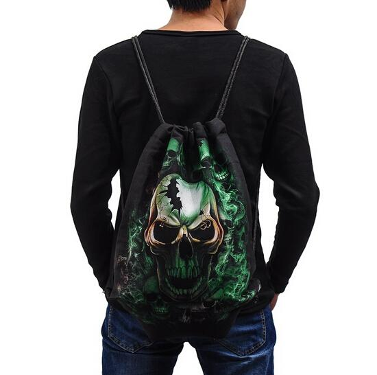 Skeleton Skull Shopping Bag Cool Drawstring Bags Outdoor Sackpack ...