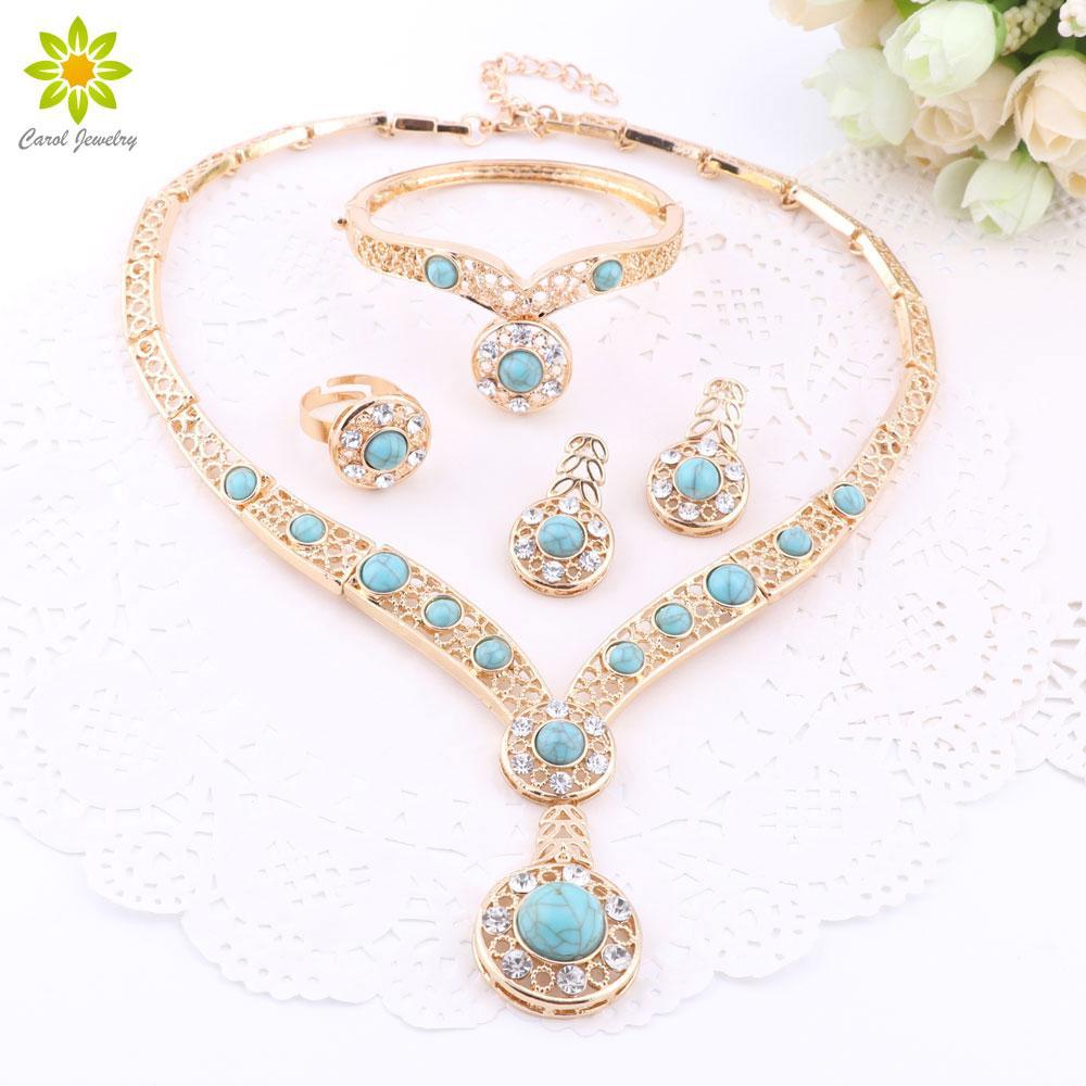 Perline africane 18 k placcato oro nigeriano nozze cz set di gioielli di diamanti braccialetto di cristallo orecchini anello set di 3 colori
