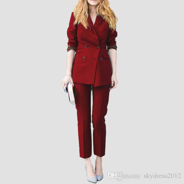 New Burgundy Autumn Formal Women Business Suits Ladies Office Work Wear Suits Womens Tailored 2 Piece Suits Custom Made