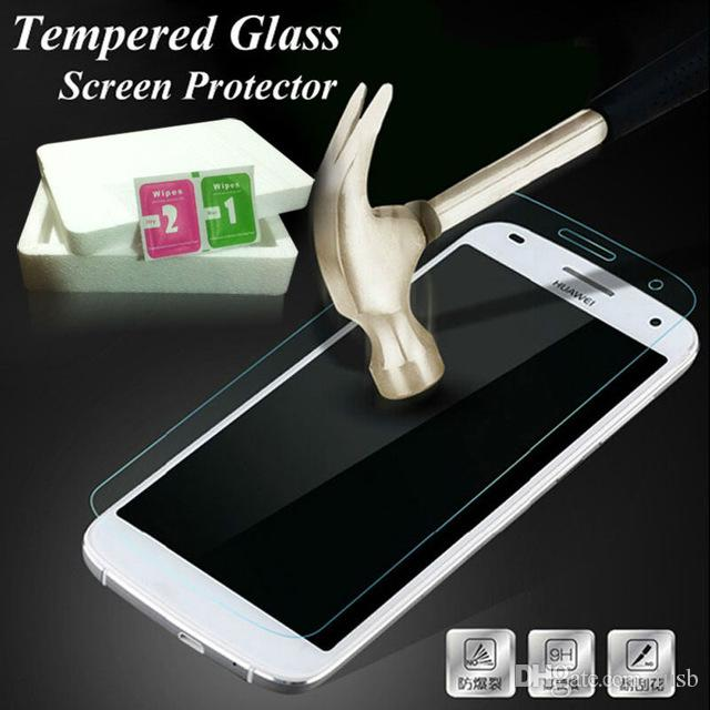 2.5 D закаленное стекло протектор экрана для Huawei Mate 7 8 P6 P7 P8 Lite P9 iphone 5 6 Plus анти-взрыв защитная пленка с пакетом