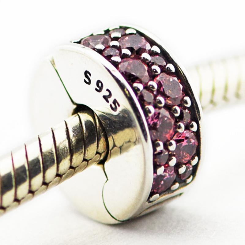 2016 여름 빛나는 우아함 클립 허니 핑크 CZ 100 % 925 스털링 실버 비즈 맞는 판도라 매력 팔찌 본격적인 패션 주얼리