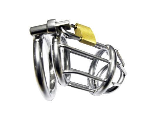 UK Stock Mens Stainless Male Chastity Cage Device Belt Restraint Lock Bondage #R172