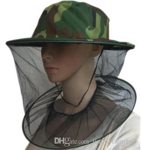 Camuflaje Apicultor Apicultor Anti-mosquito Abeja Insecto Mosca Máscara Gorra Sombrero con cabeza Red Malla Protección facial Equipo de pesca al aire libre