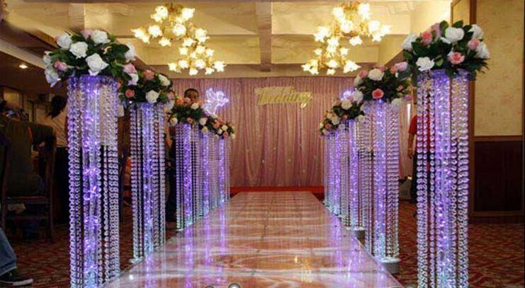 10pcs / lot Hochzeits-Kristallsäule mit Acrylkorn-Hochzeits-Straßen-Blei-Stand ohne LED-Licht