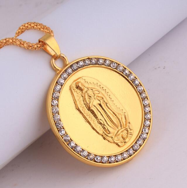 Wholesale hip hop 18k gold plated blessed virgin mary crystal round wholesale hip hop 18k gold plated blessed virgin mary crystal round pendant long chain for men necklace jewelry wholesale pendant silver chain necklace from aloadofball Gallery