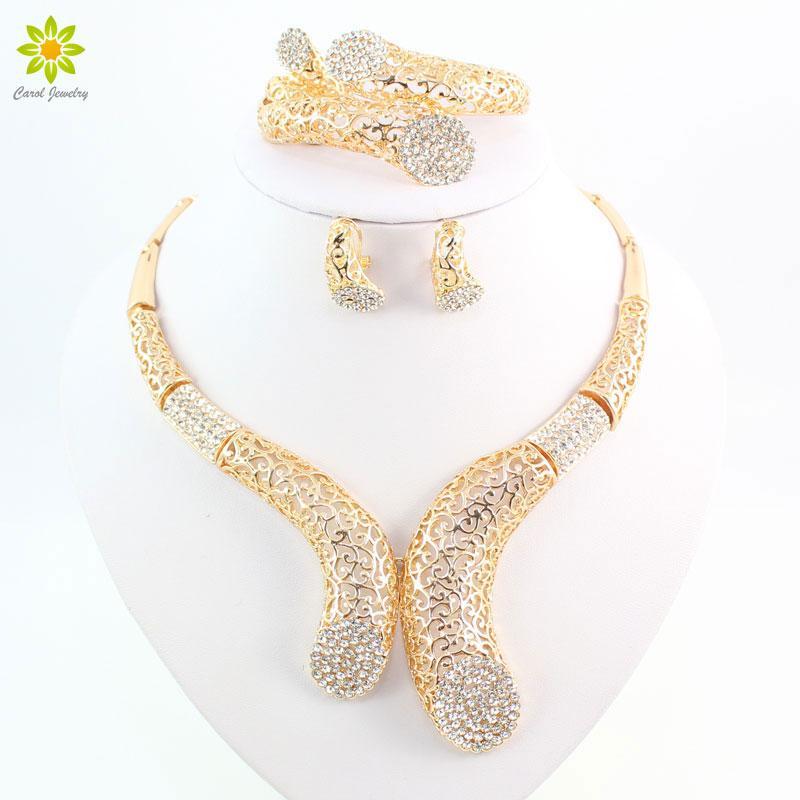 Perle da donna Accessori per perline africane Cristallo placcato in oro Scava fuori i grandi orecchini del braccialetto della collana del choker orecchini dei monili del braccialetto