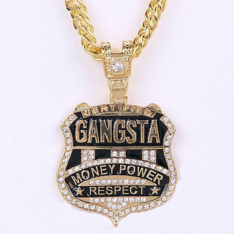 Мода женщины мужские хип-хоп 18 К золото посеребренные панк ледяной Outal Кристалл гангста деньги власть уважение подвески змея цепи ожерелья ювелирные изделия