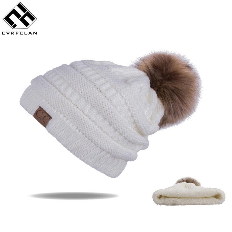 Новые Pom РОМ Женщины Зимние шапки Повседневный Шапочки Мода Вязание Вязание Hat Толстая женщина Cap Hat кости feminino оптом