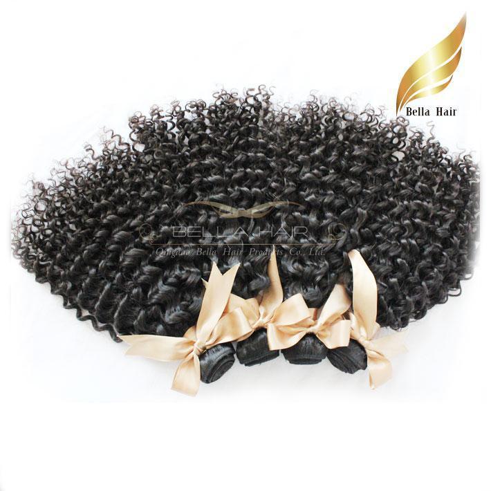 8A 100%モンゴルの聖母の人間の髪3本/ロットの巻き毛の織り広がりダブルサイドDHL送料無料ナチュラルカラーBellahair