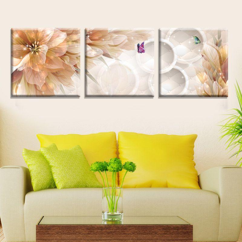 Best High Quality 3d 3panels Flower Home Wedding Decoration Wall ...