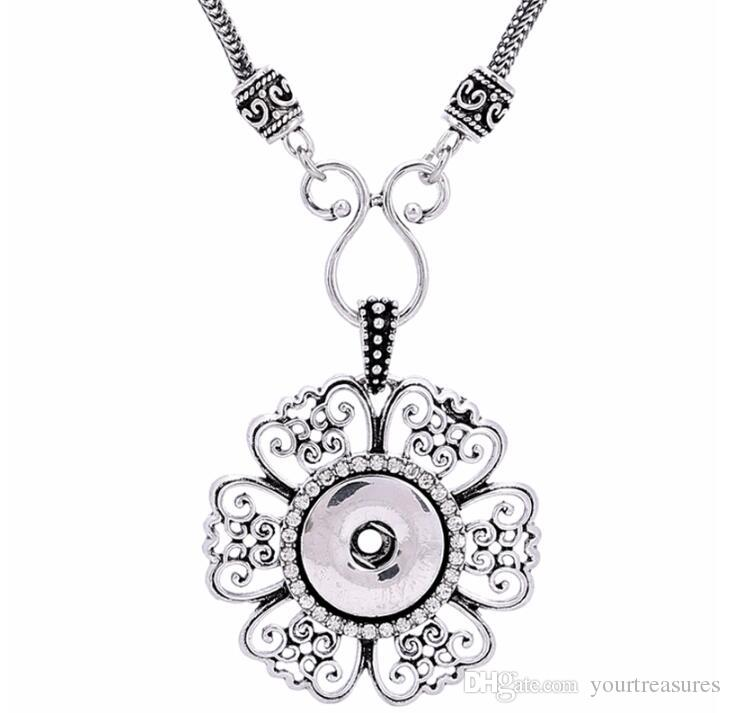 noosa Hollow Flower Silver Pendant With Silver Chain necklaces 18mm button snaps jewelry necklaces pendants for women Jewelry