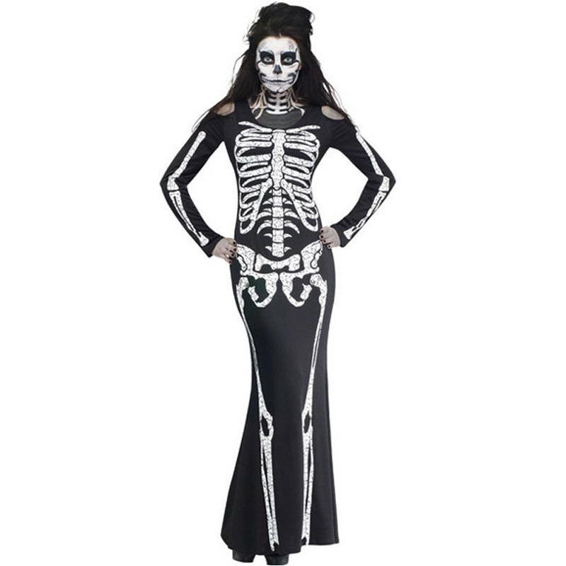 مثير النساء الأسود تأثيري الجمجمة أداء الملابس جديد طويل حزب اللباس الكبار هالوين زي السيدات نادي ارتداء القوطية زي
