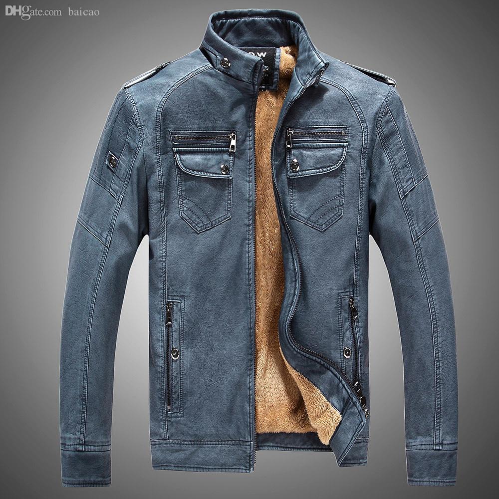 خريف 2016 جديد وصول الرجال الموضة عارضة الشهيرة مصمم الشتاء الرجال بو الجلود سترة معطف الذكور بو الجلود الستر زائد الحجم 3xl الساخن