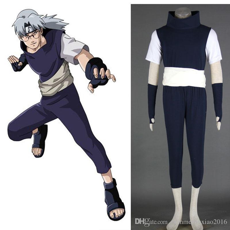 Freies Verschiffen 2016 Neue Angekommene Naruto Kabuto Yakushi Cosplay Kostüm Voller Anzug Outfit Für Unisex Halloween Party Erwachsene Größe XS - 3XL