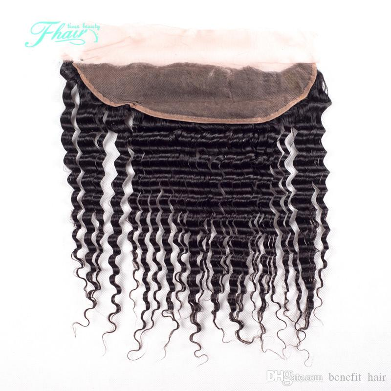 7A Full Lace Frontal Closure 13x4 Deep Wave Brazilian Human Hair Ear To Ear Top Swiss Lace Frontal Closure DHL Free Shipping
