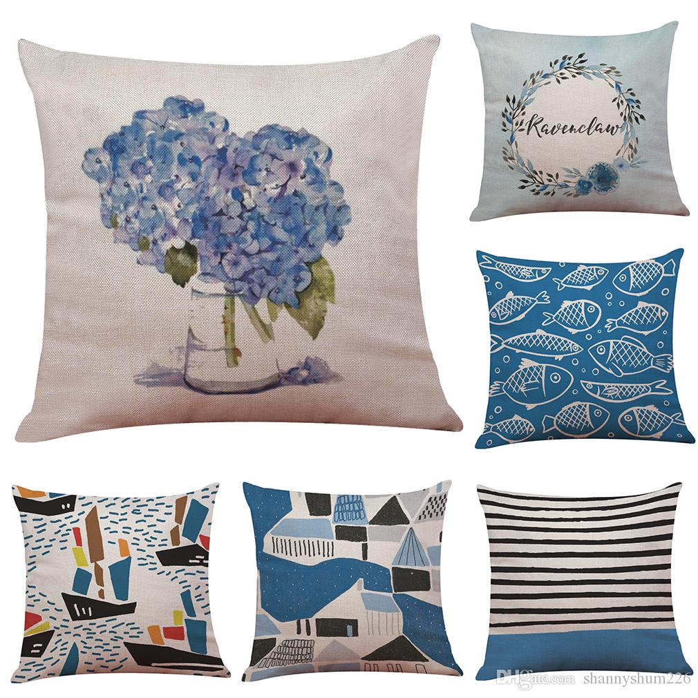 Novelty Blue Geometric Style Linen Cushion Cover Home Office Sofa Square Pillow Case Decorative Cushion Covers Pillowcases Without Insert