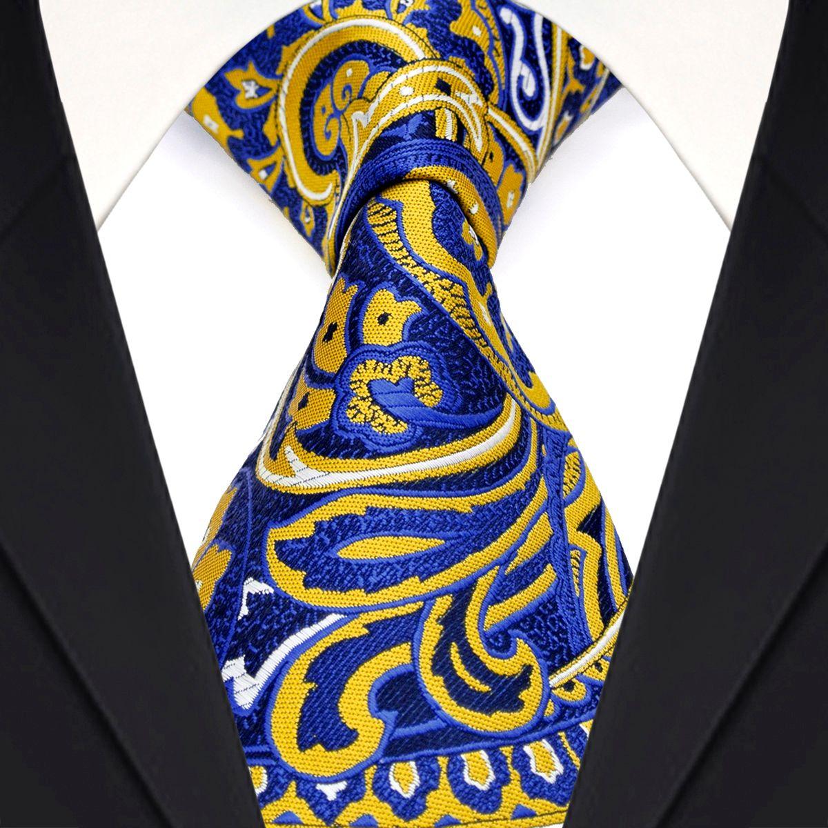 شحن مجاني F11 صفراء الأزرق الداكن بيزلي الزهور الرجال ربطات عنق 100٪ الحرير الجاكار نسج جذابة