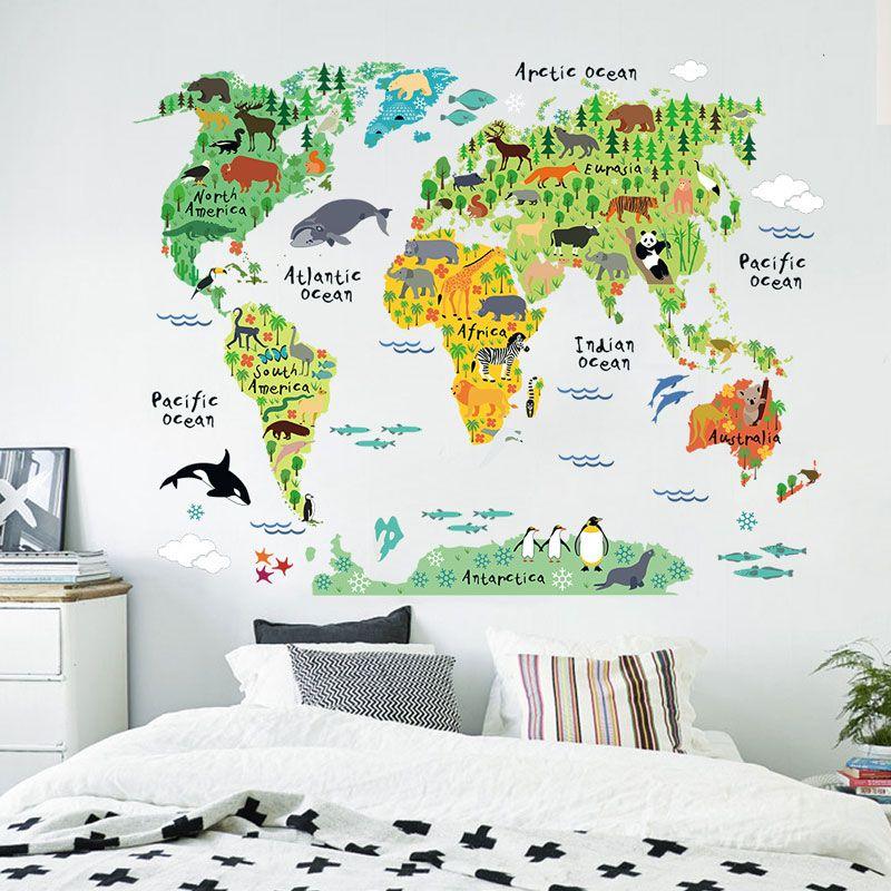 Hot Sale Cute New animal world map Wall Stickers home decoration Room Window Wall Decorating Vinyl Decal Sticker Decor Cartoon