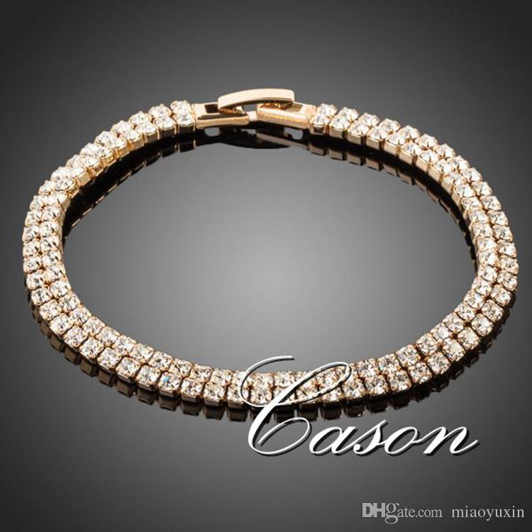 Wholesale 18K Real Gold Plated Full Crystal Bracelet FREE SHIPPING AZORA TS0017