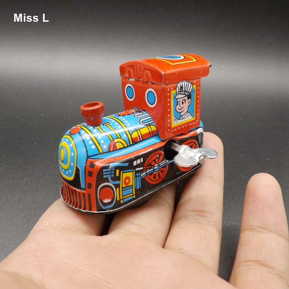 Lata De Metal Do Vintage Locomotiva Relógio Wind Up Toy Collectible Presente Kid Train Cérebro Teaser IQ Jogo Toy
