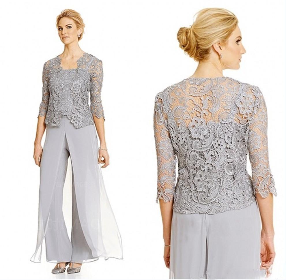 Silver Plus Size Mère De Mariée Pantalon Costume Avec Dentelle Veste En Mousseline De Soie Formelle Mères Outfit Occasion Spéciale Vêtement De Mère
