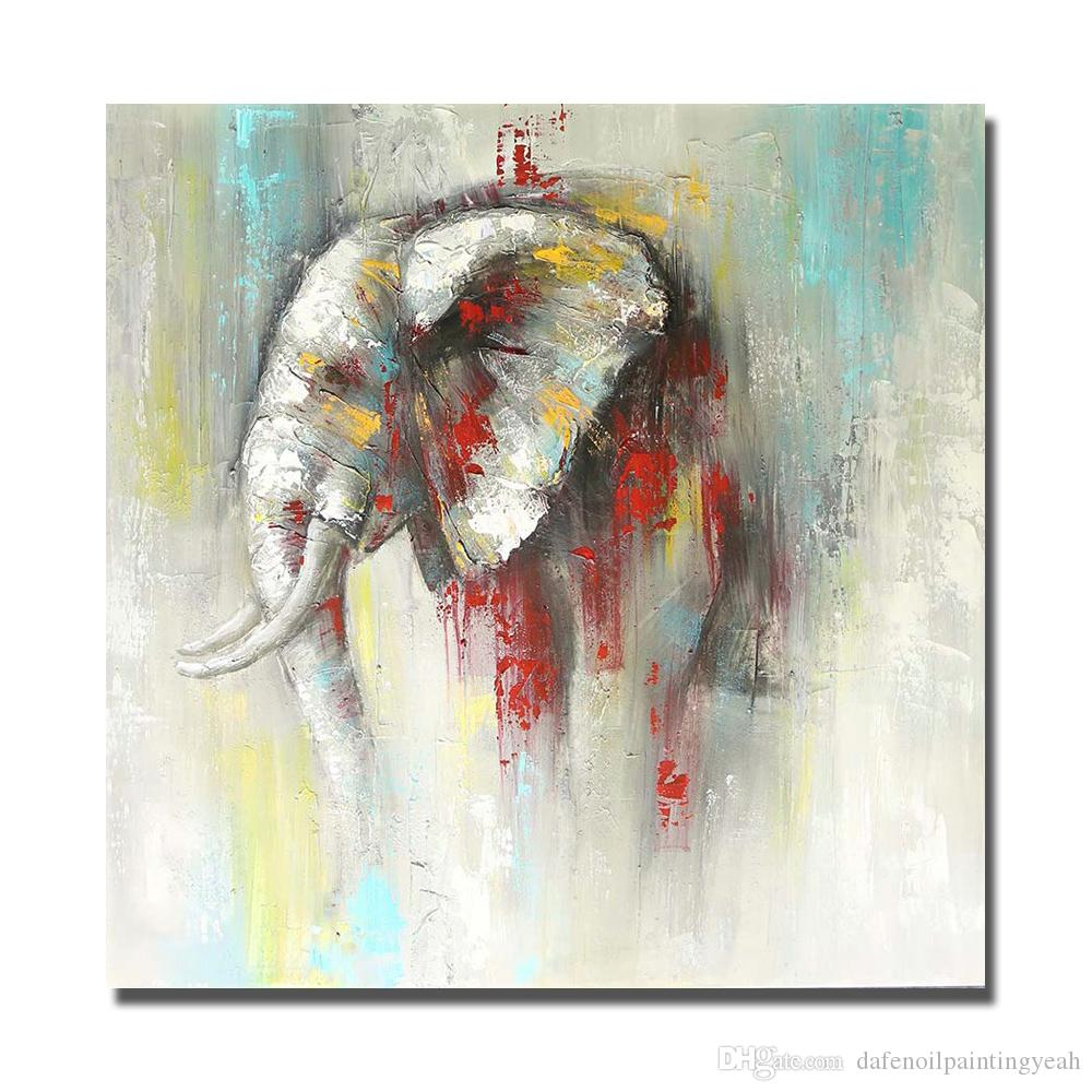 2019 Hand Made Abstract Elephant Painting Sitting Room Wall Decor Animal Pictures On Canvas Wall Art No Framed Oil Painting From Dafenoilpaintingyeah