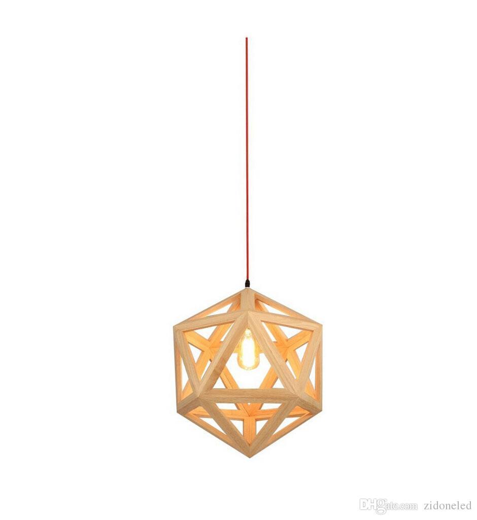 RH Loft LED Pendentif Lumière En Bois Lumière Lumière Hexaèdre En Forme De Lampe Suspendue Pour Salon Salle À Manger