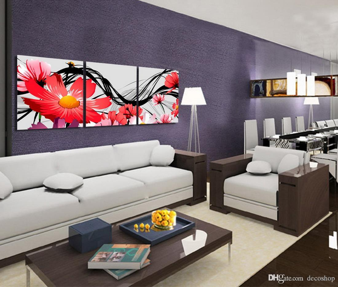 Morden Chrysanthemum Flowers Abstract Floral Painting Print On Canvas Home Wall Decor Set30099