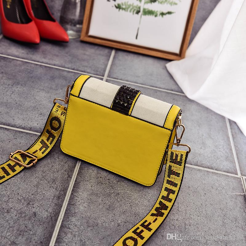 766ad6b9fba18 ... OFF White Brand Women bag New Clip package Split Leather shoulder bag  yellow letters cowhide Crossbody ...