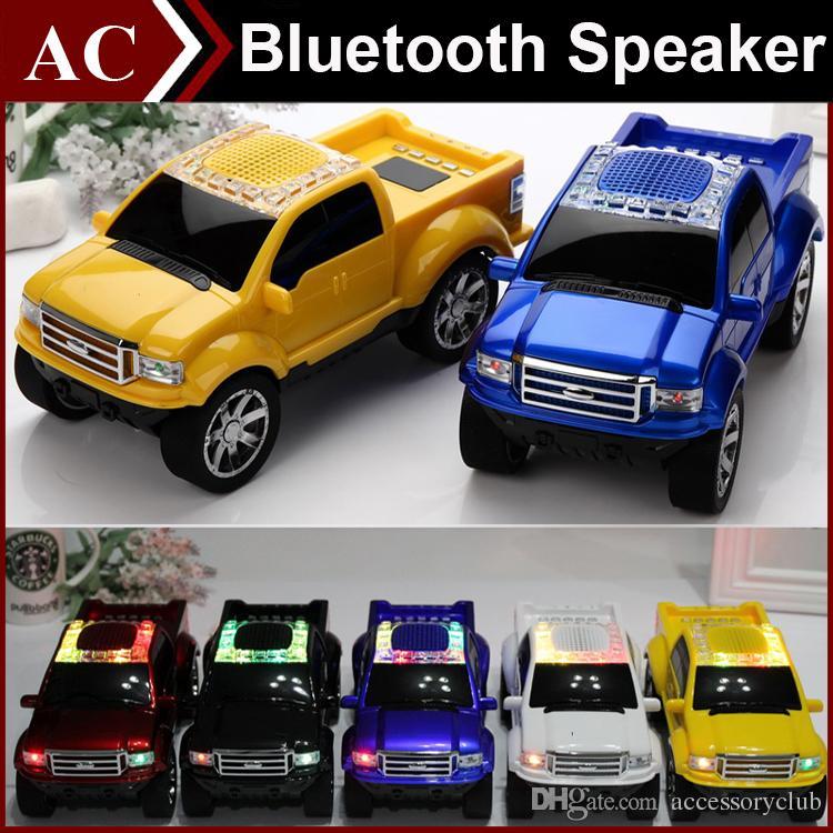 Truck Car Shape Model Mini Wireless Bluetooth Speaker Portable Subwoofer LED Flash Light USB TF Card Stereo FM Radio MP3 Music Player