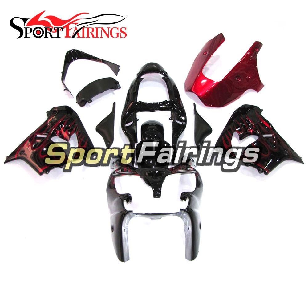 Black Red Flames Full Fairings For Kawasaki ZX9R 2000-2001 ABS Plastic Motorcycle Bodywork Body Kit Cowlings Body Kit