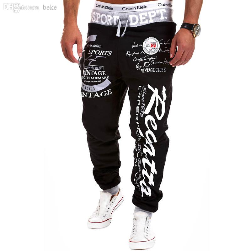Wholesale-Free shipping 2016 outdoor male sports trousers letters printed with pants pants and comfortable sweatpants men