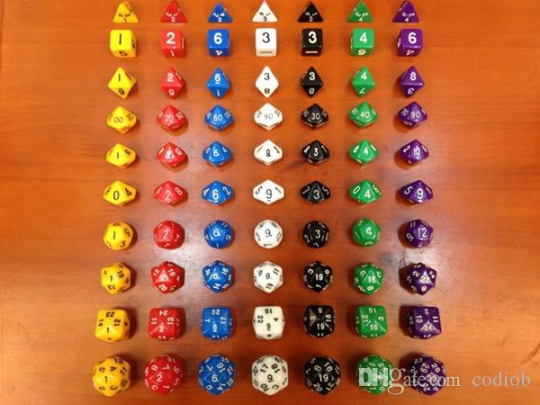 Polyhedral Dice Set Jeu de RPG Jeux de dés 1pcs * D4 D6 D8 D12 D20 D24 D30 3pcs * D10 (0-9 1-10 00-90) 10pcs / set # D2