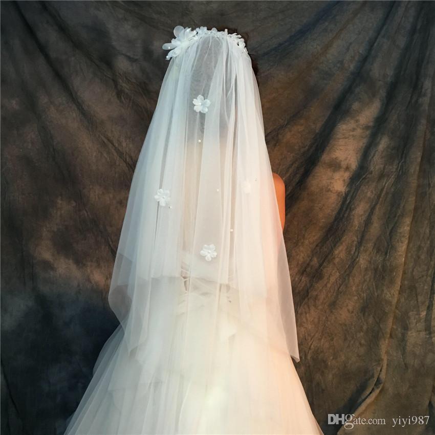 Veli all'ingrosso Immagini vere veli viola veli bianchi per avorio da sposa Buon Tulle veloce spedizione gratuita