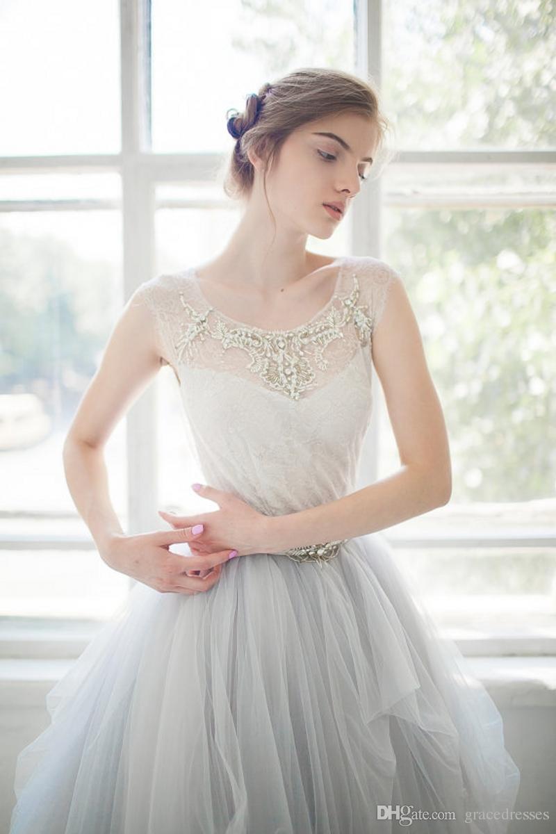 Discount Light Blue Wedding Gowns Sheer Scoop Neck Princess Ball ...