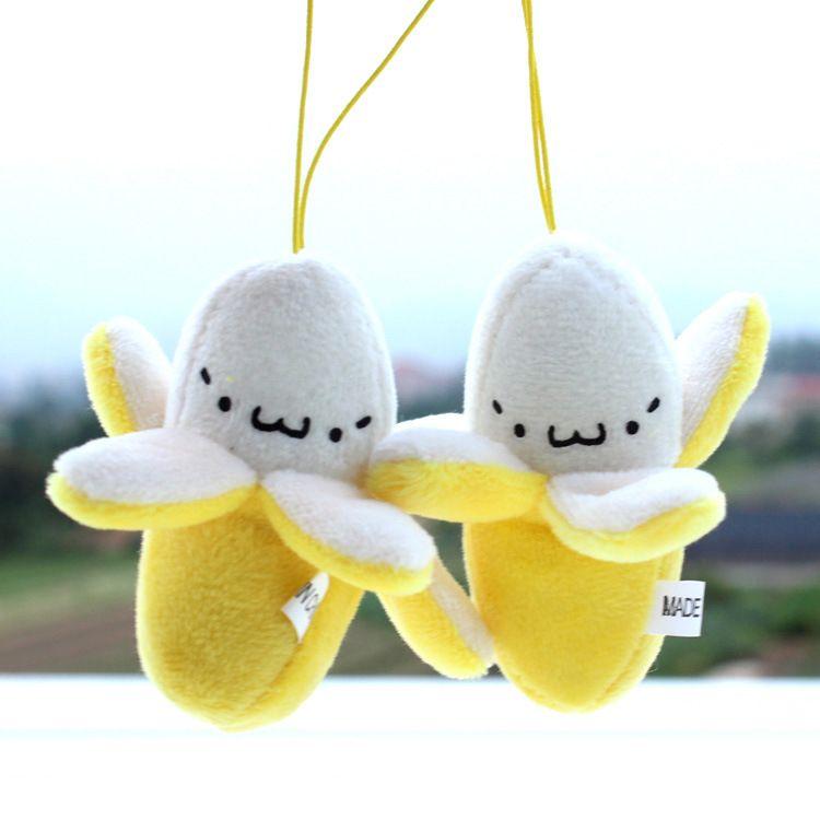 Téléphone portable mignon sangle charme téléphone portable écrémé de la banane en peluche poupée téléphone sangle pendentif téléphone portable décoration accessoires