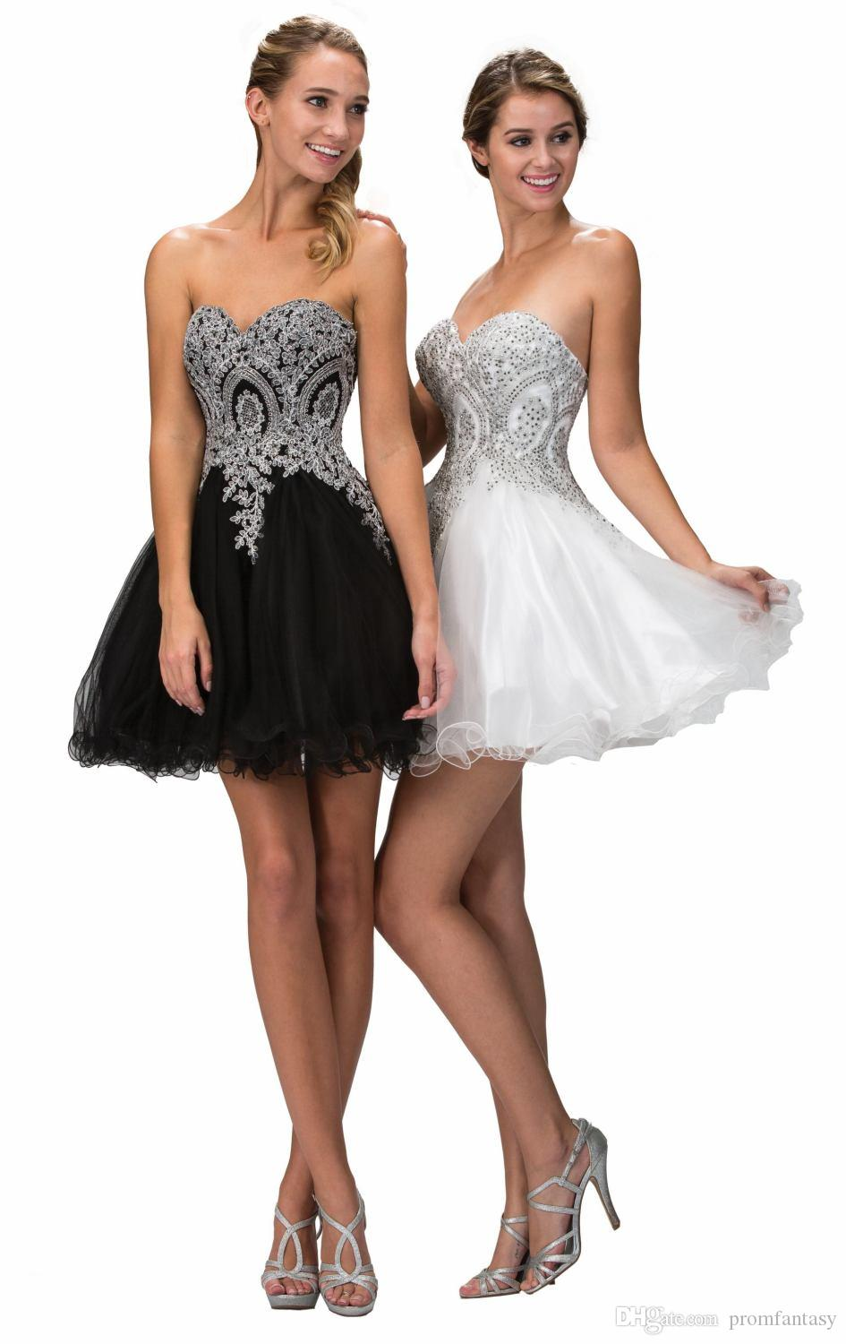 Little Black Cocktail Dresses Tulle A Line Beaded Lace Top Little ...