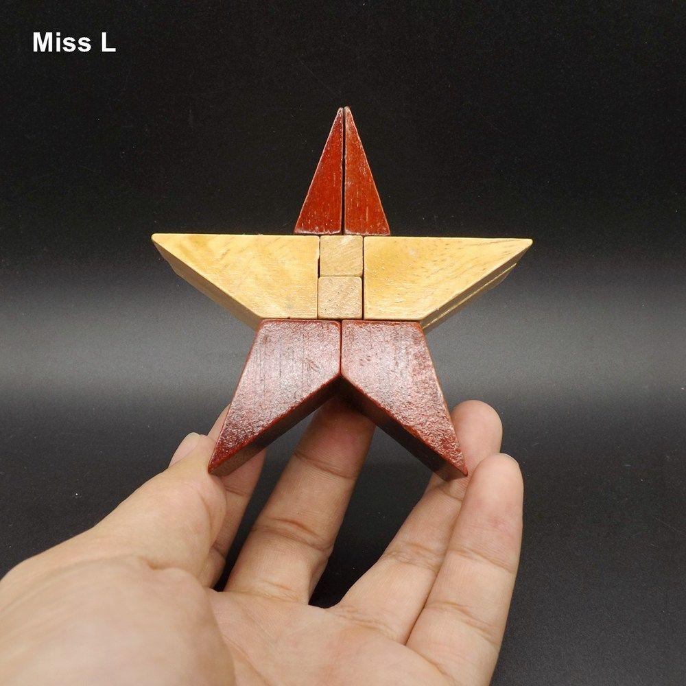 Jouets pour enfants en bois 3D Puzzle Pentagram Kong Ming Lock Montessori Jeu de l'esprit cadeau cadeau enseignement Mind Game