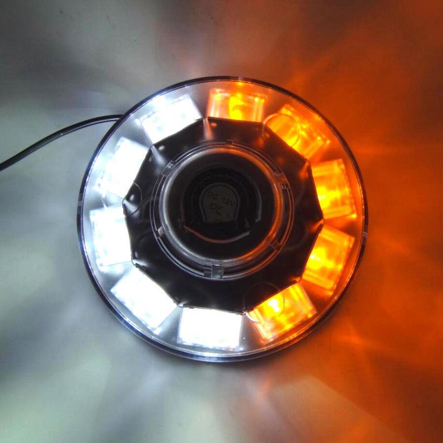 POWER 10 LED CAR EMERGENCY BEACON LIGHT STROBE HAZARD WARNING LAMP AMBER/WHITE